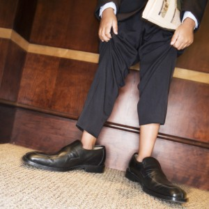 Boy Wearing Men's Dress Shoes and Suit