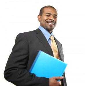 Smiling African American businessman